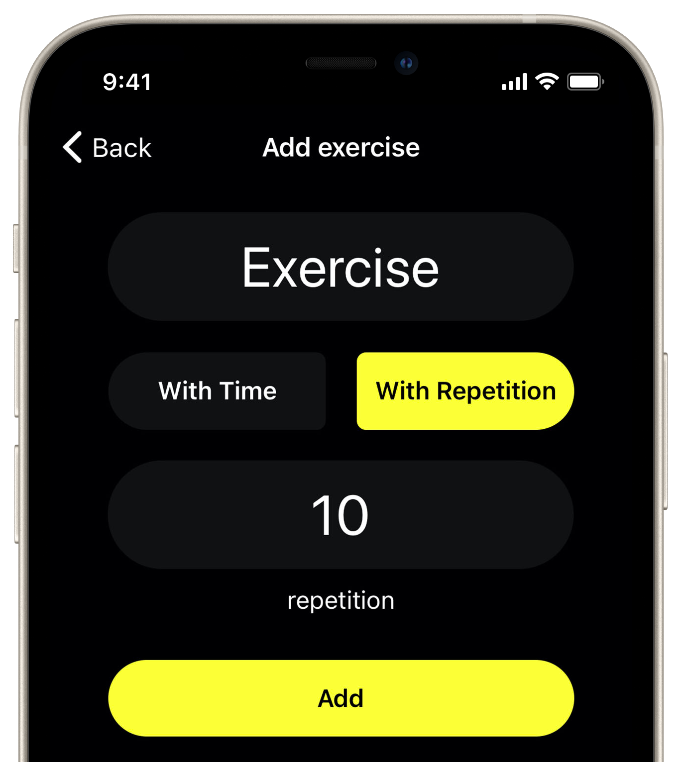 Define exercises by time or by repetition.